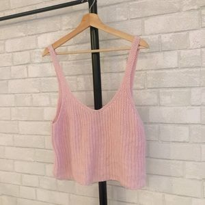 American Apparel pink fisherman sweater tank top